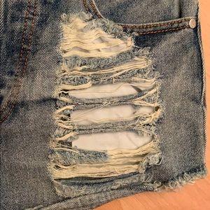 MINKPINK Shorts - Minkpink High waist denim shorts